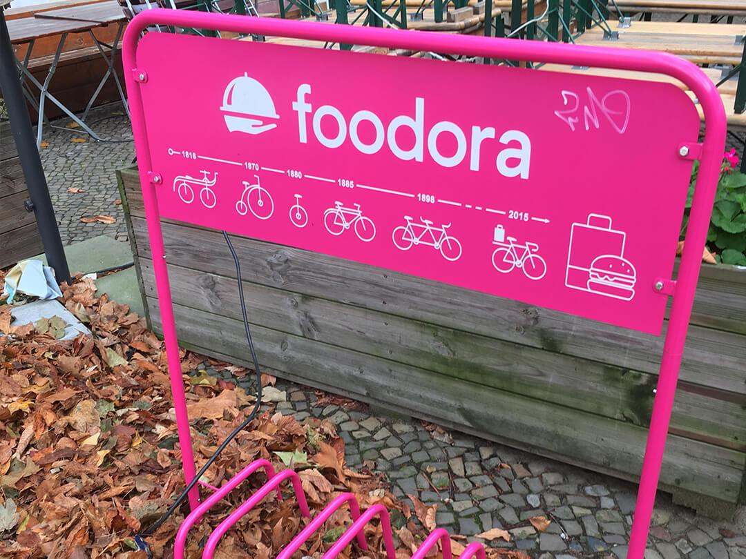 foodoraの自転車スタンド