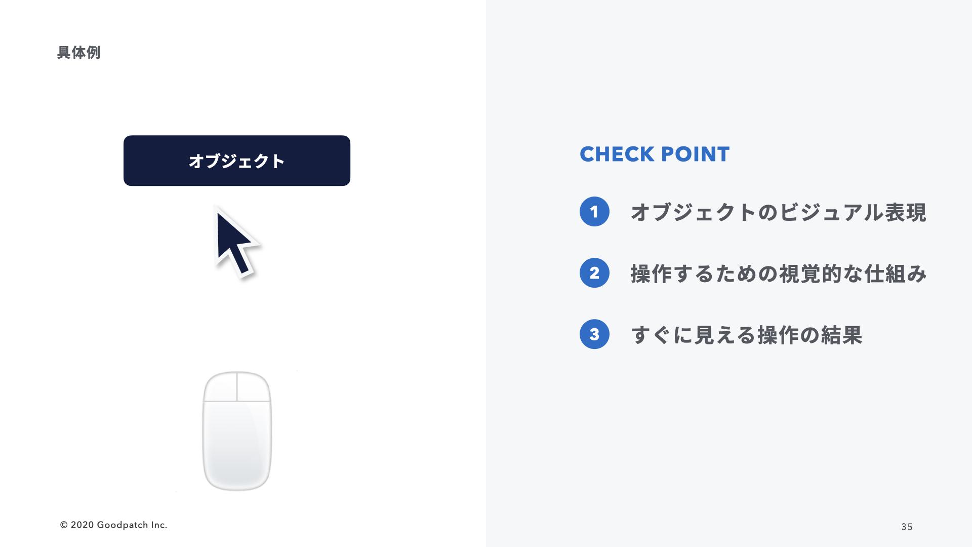 チェックポイント:オブジェクトのビジュアル表現、操作するための視覚的な仕組み、すぐに見える操作の結果